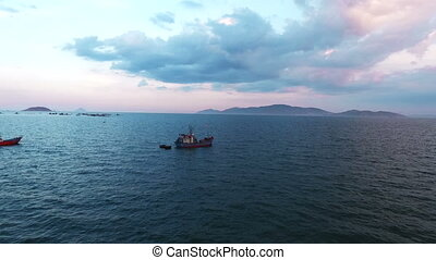 Aerial Survey Fishing boats in the sea. South Vietnam