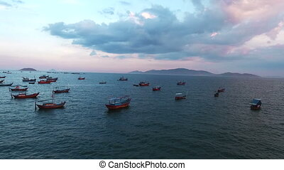 Aerial Survey Fishing boats in the sea. Vietnam