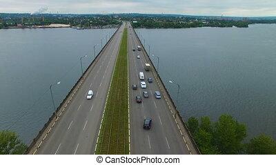 Aerial survey of a road bridge - Flying over the road bridge...