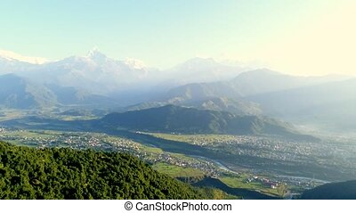 Aerial survey of mountain landscape in Pokhara, Nepal