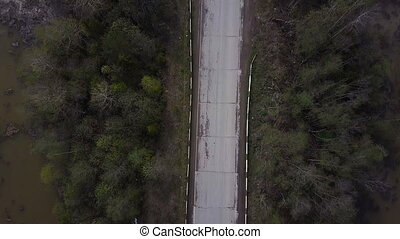 Aerial survey of road. Top view