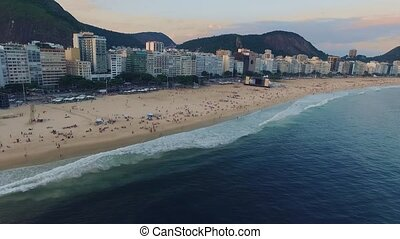 Aerial survey of the panorama of the beach of Copacabana and...