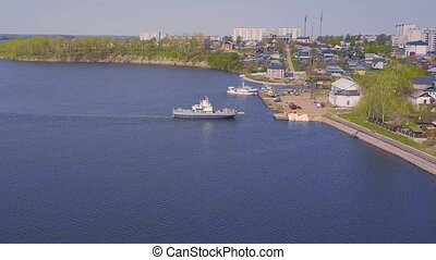 Aerial Survey of the river ferry. Top view