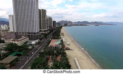 Aerial survey over the coast of Nha Trang