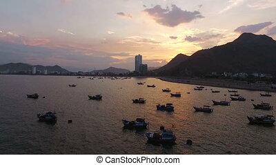 Aerial Survey Sea Sunset in Vietnam