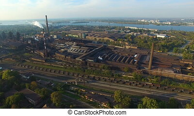 Aerial survey Steel mill - Flying over the metallurgical...