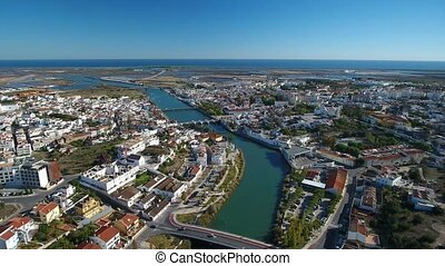 Aerial. Tavira video from the sky drone, river Gilao and...