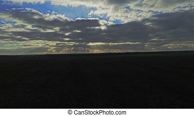AERIAL: The flight over a field at sunset