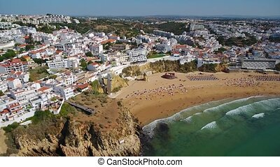 Aerial. The magnificent beach of fishermen, in the city of...