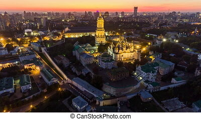 Aerial time lapse. Kiev-Pechersk Lavra with illumination....