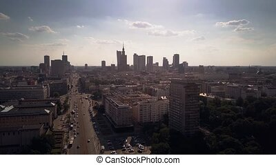 Aerial time lapse of Warsaw central streets, Poland - Aerial...