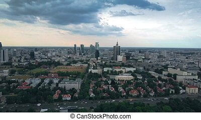 Aerial time lapse of Warsaw cityscape, Poland - Aerial time...