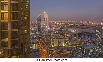 Aerial time lapse over Dubai during sunset in November 2019