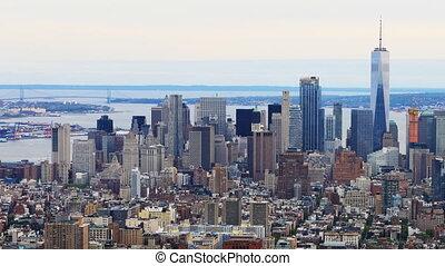An aerial timelapsel of lower Manhattan