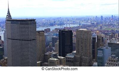Aerial timelapse of Manhattan in New York