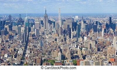Aerial timelapse of the midtown Manhattan, New York area -...