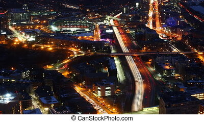 Aerial timelapse view of the Boston Skyline at night - An...