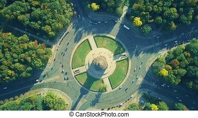 Aerial top down hyperlapse of Berlin Victory Column...