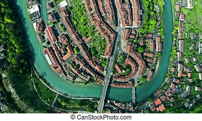Aerial top-down hyperlapse of the Old City of Bern....