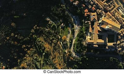 Aerial top down shot of Perugia. Italy