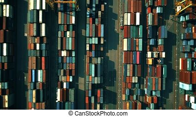 Aerial top down view of a big cargo container terminal