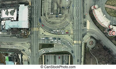 Aerial top-down view of a busy city road traffic