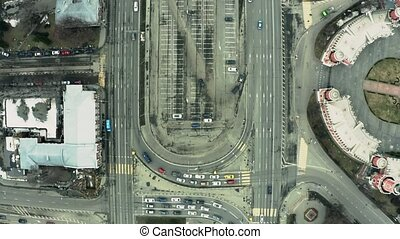 Aerial top-down view of a busy city road traffic - Aerial...