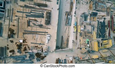 Aerial top down view of a construction site
