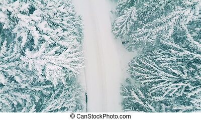 Aerial top down view of a forest road in heavy snow