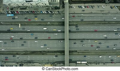 Aerial top down view of a major city road traffic - Aerial...