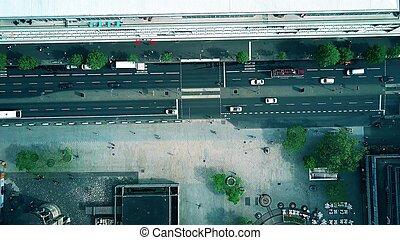 Aerial top down view of a steet in Berlin, Germany