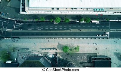 Aerial top down view of a steet in Berlin, Germany