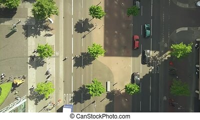 Aerial top down view of a steet in the center of Berlin, Germany