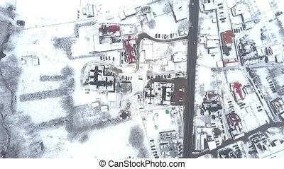 Aerial top down view of a typical Eastern European town in...