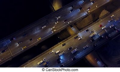 Aerial top down view of big highway traffic jam in the...