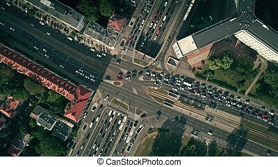 Aerial top down view of busy city intersection