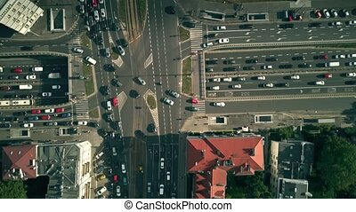 Aerial top-down view of busy city streets - Aerial top down...