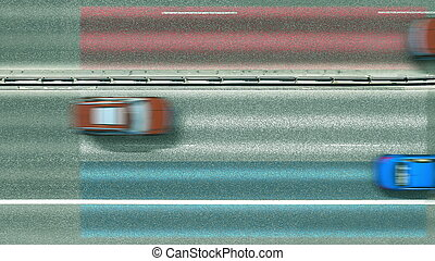 Aerial top down view of cars and flag of Luxembourg on the ...
