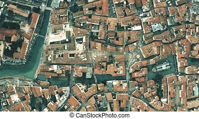 Aerial top down view of city of Treviso, Italy - Aerial top...