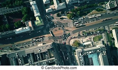Aerial top down view of city roundabout traffic - Aerial...