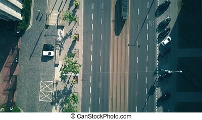Aerial top-down view of city street traffic - Aerial...