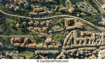 Aerial top down view of cityscape of Perugia. Italy - Aerial...