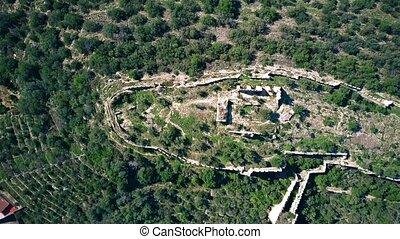 Aerial top down view of Corbera Castle ruins, Spain - Aerial...