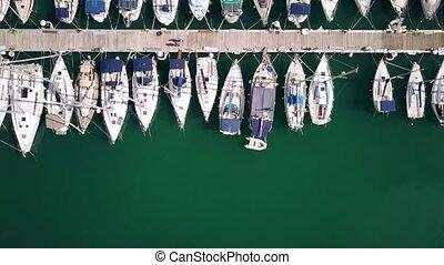 Aerial top-down view of docked sailboats at marina - Aerial...