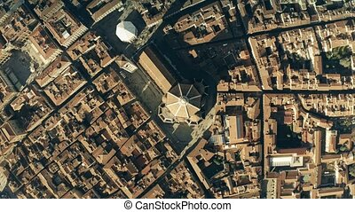 Aerial top down view of famous Florence Cathedral or...