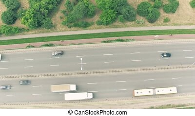 Aerial top down view of highway traffic