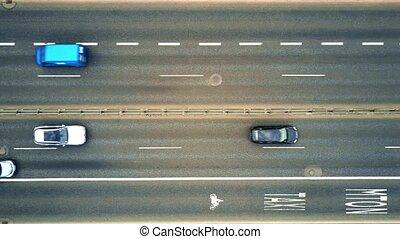 Aerial top down view of highway