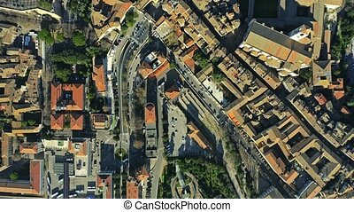 Aerial top down view of houses and streets in Perugia, Italy...