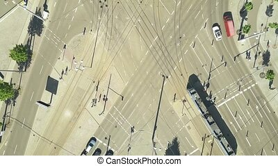 Aerial top down view of major city streets intersection in...