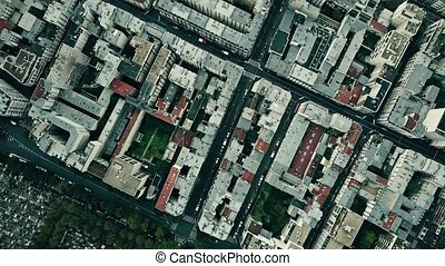 Aerial top down view of Montparnasse district in Paris,...